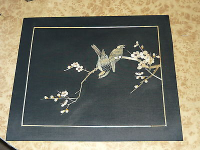 Vintage Black Silk Wheat Stalk Sparrow Bamboo Picture Retro Hand Made China Art