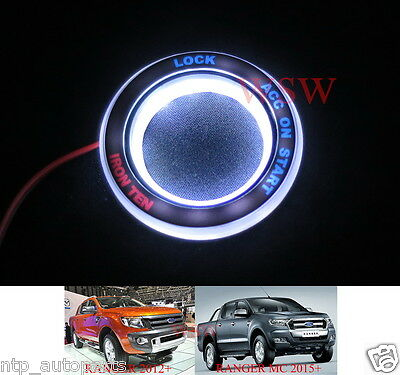 White Ring Start Key Remote Led Fit Ford Ranger T6 Mk2 Wildtrak Facelift 12-2016