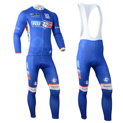 Mens Team Cycling Long Sleeve Jersey Bib Pants Kit Bike Racing Shirt Tights Set