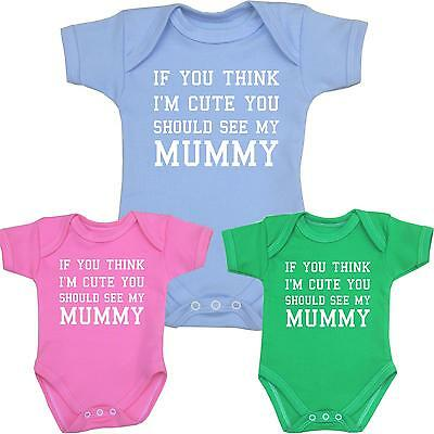 Baby Clothes Cute Mummy Bodysuits Vests Girls Boys Funny Slogan Shower Gifts