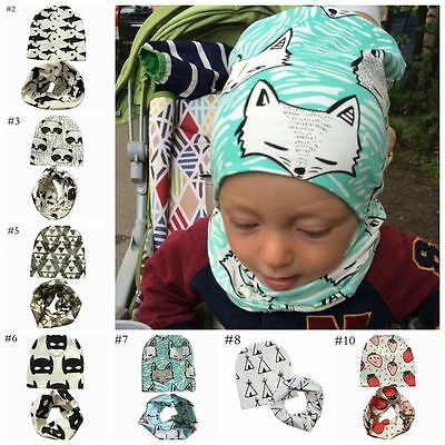 Baby Hat Girl Boy kids Hat Cotton Scarf Collar Autumn Winter Infant Hats Set Cap