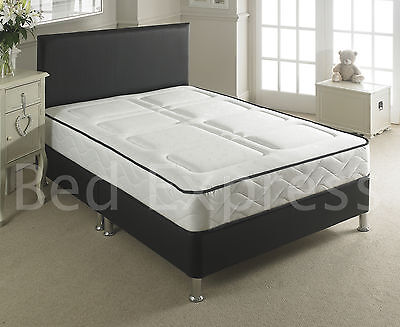 LEATHER BED 3FT SINGLE-BLACK-BROWN-WHITE With MEMORY FOAM-ORTHOPAEDIC MATTRESS