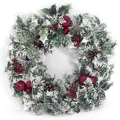 Large Artificial Frosted Christmas  Wreath Holly with Pine Cones & Berries 40cm