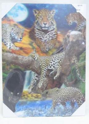 Leopard Family 3D Canvas Animal Art Wall Picture Poster Print Hang Decor A3