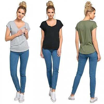 Happy Mama. Women's Nursing Double Layer T-shirt Round Neck Breastfeeding. 943p