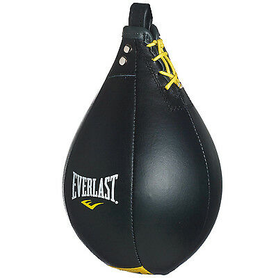 Everlast Leather Boxing Speed Ball Reflex Training Inflatable Punch Bag - Black