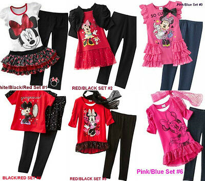 * Nwt New Girls 2Pc Minnie Mouse Tutu Shirt Dress Pants Outfit Set 2T 4 5 6 6X