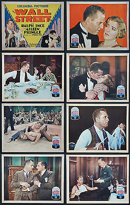 Wall Street Ralph Ince Pre-Code Stock Market Film 1929 Lobby Card Set Of 8