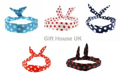 Wired Headbands Polka Dot Retro Style Twisted Bands Vintage Hair Band Scarf B3