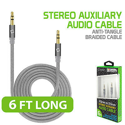 Cellet 6ft 3.5mm Male to Male Premium Anti-Tangle Braided Nylon Aux Audio Cable