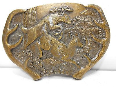 Is BUCK Jumping DEER & ANTLERS BELT BUCKLE 1977 USA BERGAMOT BRASS Y-144 MINT