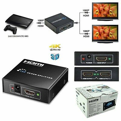 4k HDMI Splitter Hub Repeater Amplifier HD 3D 1080P 2 Out for HDTV PS3 DVD Xbox