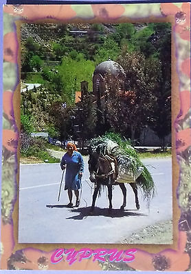 Cyprus postcard: Woman with donkey carrying goods in the fields, unposted.