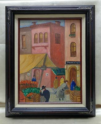 vintage cesare outdoor market oil painting on canvas panel w vintage style frame
