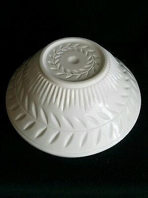Vintage Milk Glass Compote Heavy Fruit Bowl With Leaf Pattern