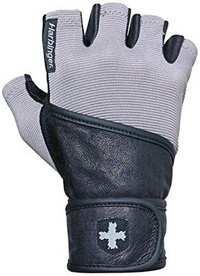 Harbinger Men's Classic Wrist Wrap Glove with Leather Palm (Pair), Large