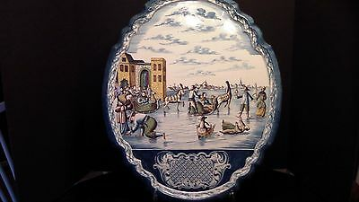 A Large Dutch Delft Polychrome Plaque With People on Ice