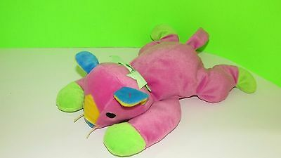 TY Pillow Pals 1998 PINK plush cat multi colored  green bow paws blue yellow ear