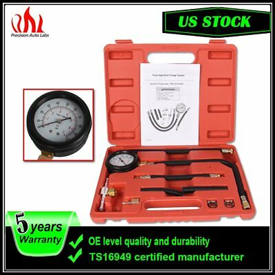 9pcs Auto Fuel Injection Pump Tester Pressure Gauge Injector Test Kit 0-100PSI