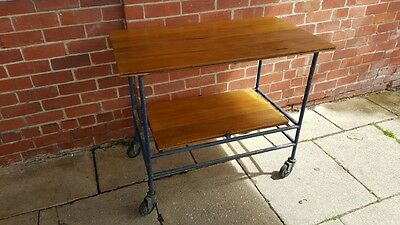 Industrial Style Trolley Metal Frame Timber Shelves Vintage Retro