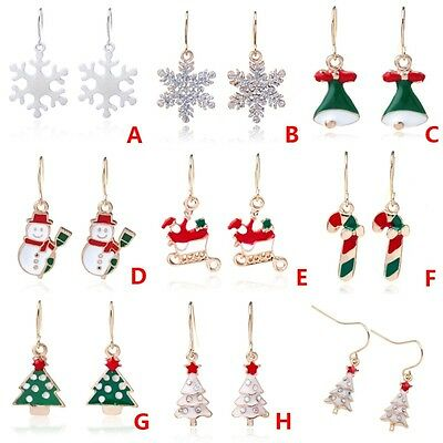 Women Christmas Earrings Gold Silver Hook Drop Drop Earring Xmas Fashion Jewelry