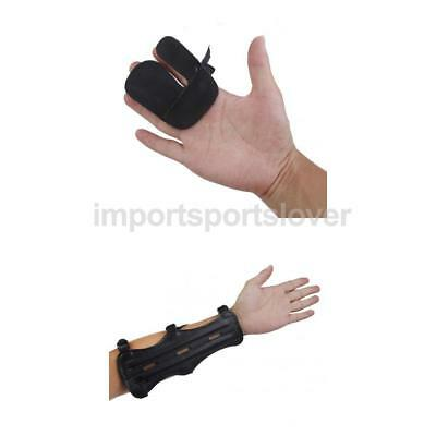 Black Cow Leather Bow Archery Shooting Protective Finger Tab Guard + Arm Guard
