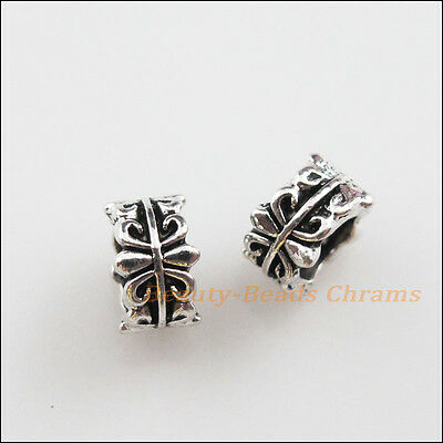 "10Pcs Tibetan Silver Tone Flower ""Fleur de lis"" Spacer Beads Charms 7mm"