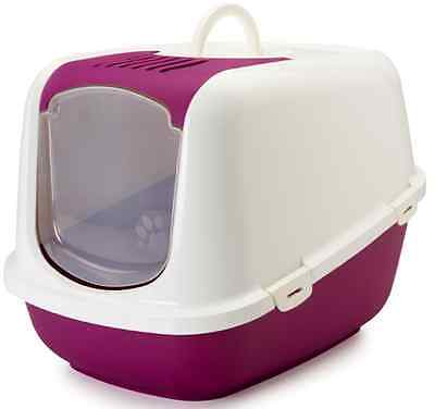 Jumbo Cat Litter Box Carbon Filter Toilet Hooded Tray XXL Spacious White Red