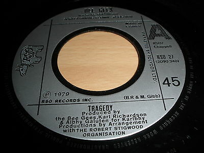 """Bee Gees 7"""" Vinyl Tragedy Rso 27 France 1979 Ex """""""