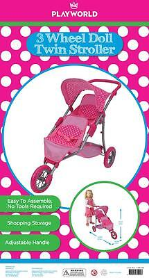 Playworld - Doll's Stroller 3 Wheel Twin Jogger Pink Dot T60225 NEW