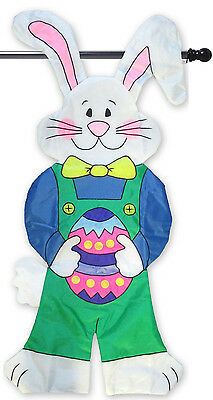 """Bunny Easter 3D Applique House Flag Embroidered Egg Decorative  23"""" x 49"""""""