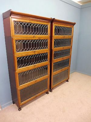 Pair Of Mahogany Globe Wernicke Sectional Lawyers Bookcases With Leaded Glass