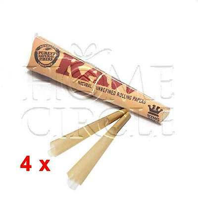 Bulk Buy 4x Pack Classic King Size Cone Natural Pre-Rolled Rolling Paper Tobacco