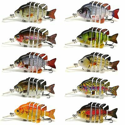"BLITZ BITE 3"" Crazy Panfish Series Multi Jointed Bass Fishing Lure Bait Floating"