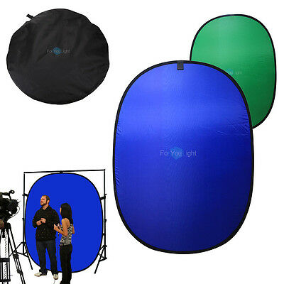 5x7ft Portable Collapsible Popup Blue Green Screen Background Reversible Panel