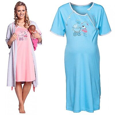 Happy Mama Women's Maternity Hospital Gown Robe Nightie Set Labour & Birth. 301p