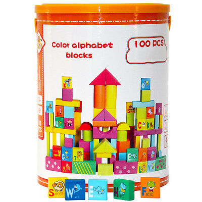 Wooden Building Construction Blocks Alphabet Educational Learning Toy