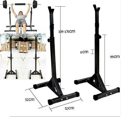2x Heavy Duty Adjustable Gym Squat Barbell Power Rack Stand Weight Bench Support