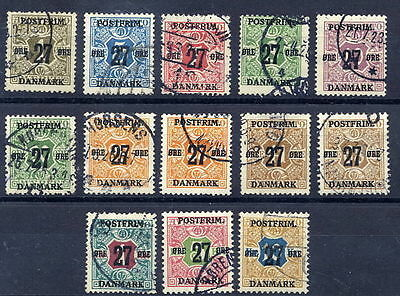 DENMARK 1918 27ø surcharges on newspaper stamps set of 13 used