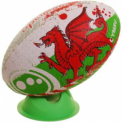 Optimum Wales Nation Rugby Ball White Green and Red Size 5 Only