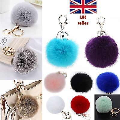 Elegant Quality Soft Fluffy Rabbit Fur Ball Key Chain PomPom Handbag Car Keyring