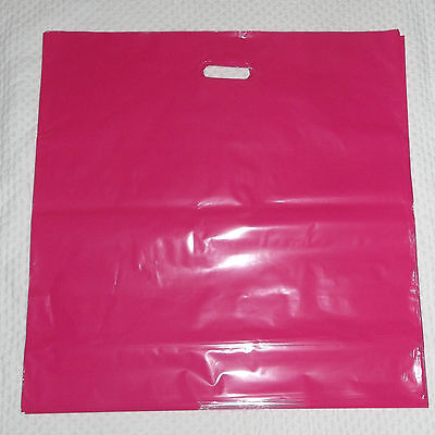"Glossy Jumbo HOT PINK Shopping Merchandise Bags 20""x20""x5"" Lot 25"