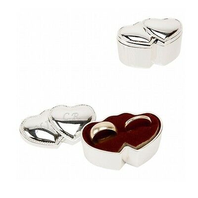 Personalised Engraved Double Heart Wedding Ring Box Gift Free Engraving & P&p!