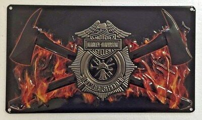 Ande Rooney HARLEY DAVIDSON FIRE AXES Tin Firemen Firefighter HD Garage Sign