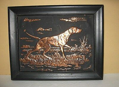 Vintage 3d Art Picture Hunting Pointer Dog Copper Relief Black Frame