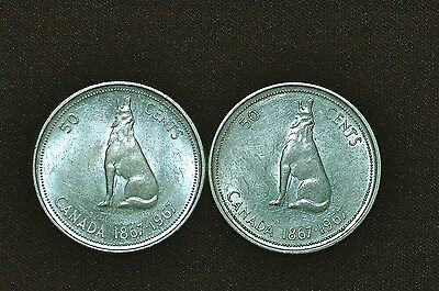 Canada 1967 50 Cents (set of 2) Silver Coins (K)