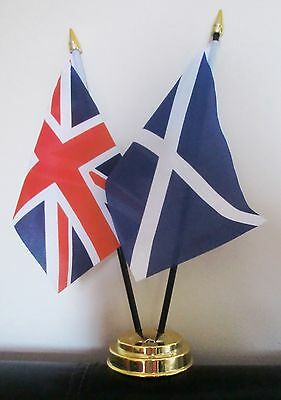 UNION JACK AND ST ANDREW SCOTLAND NAVY TABLE FLAG SET 2 flags plus GOLDEN BASE