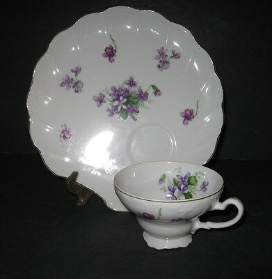 Vtg Snack Hostess Set Violets Shell Shape Tray/Plate Tea Cup Set Gold Fine China