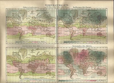 1888 TEMPERATURKARTE WELT alte Landkarte Karte Antique Map Lithographie