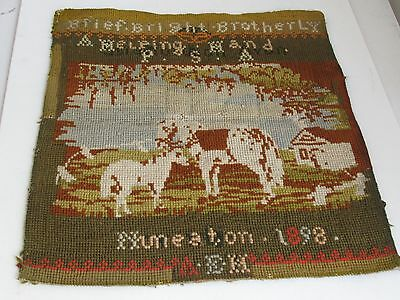 Antique Needlepoint  Sampler Horse, Colt and Barn 1898 Original Frame